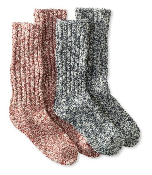L.L.Bean Cotton Sock Navy/Fire Brick